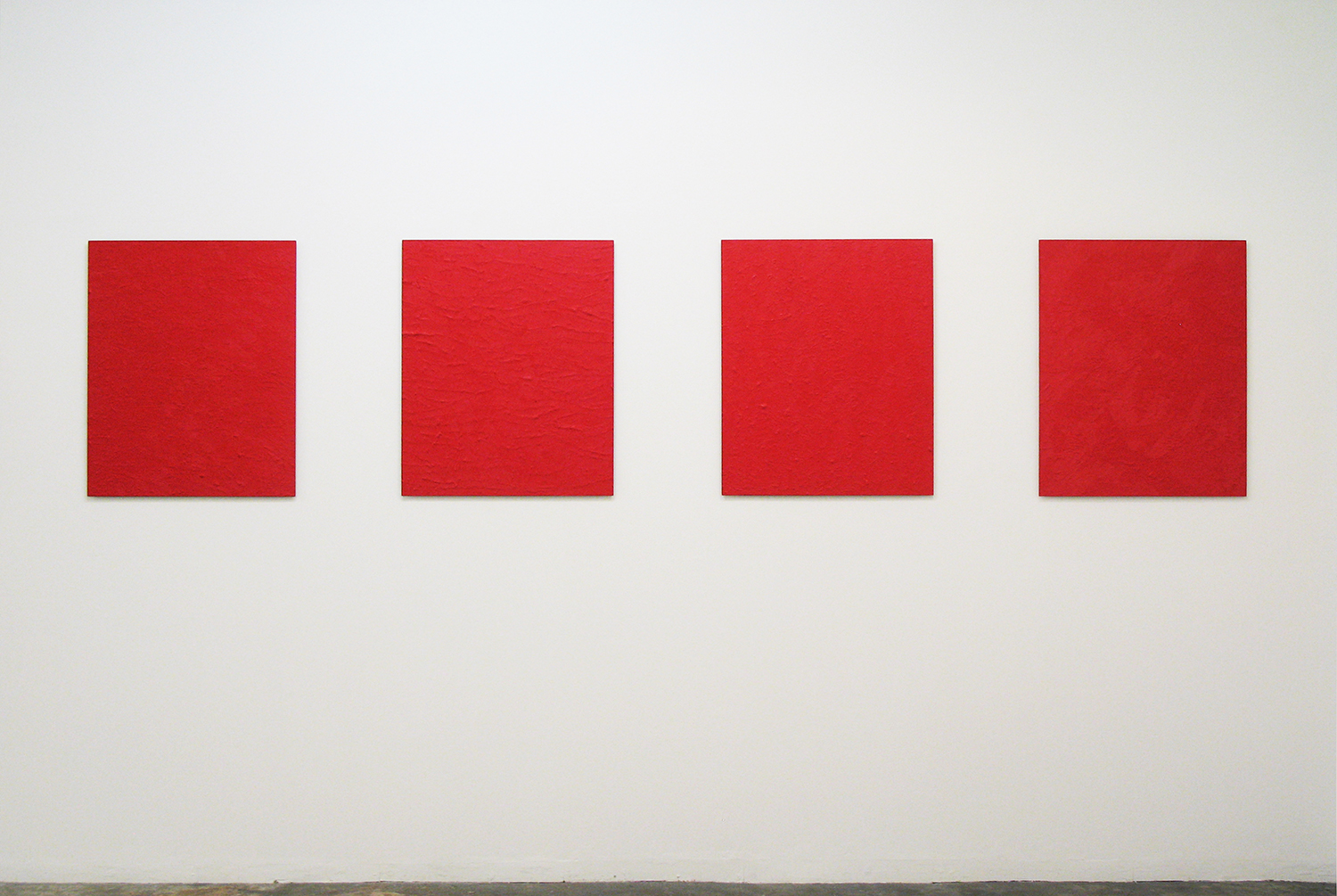 Installation View: Untitled-Red series| Oil on aluminum|727 x 606 mm|2012 each