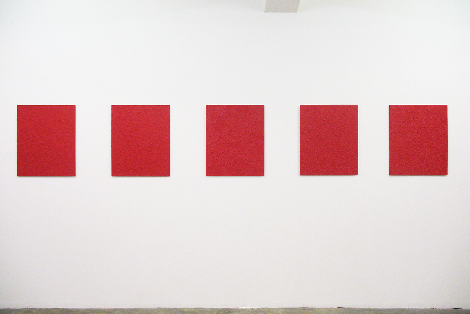 Installation View: Untitled - Rose Red (left 2 pieces)| Oil on aluminum|606 x 500 mm each