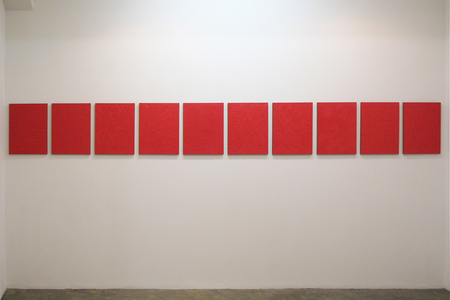 Installation View: Untitled - Beni Red|Oil on aluminum|455 x 380 mm|2012 each