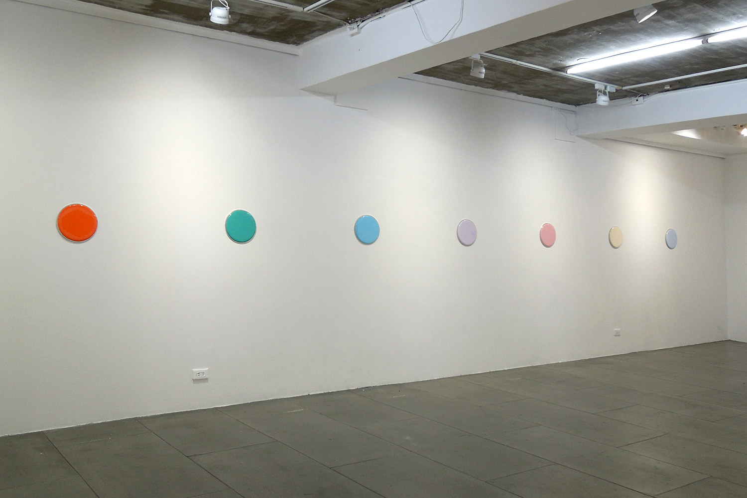 Installation View: Acrylic on resin series<br>267 mm diameter|2018 each