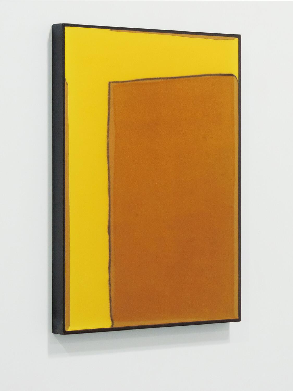<b>色面を包む四角形</b><br>鏡にウレタン塗料、鉄製フレーム<br>413 × 310 mm<br>2014