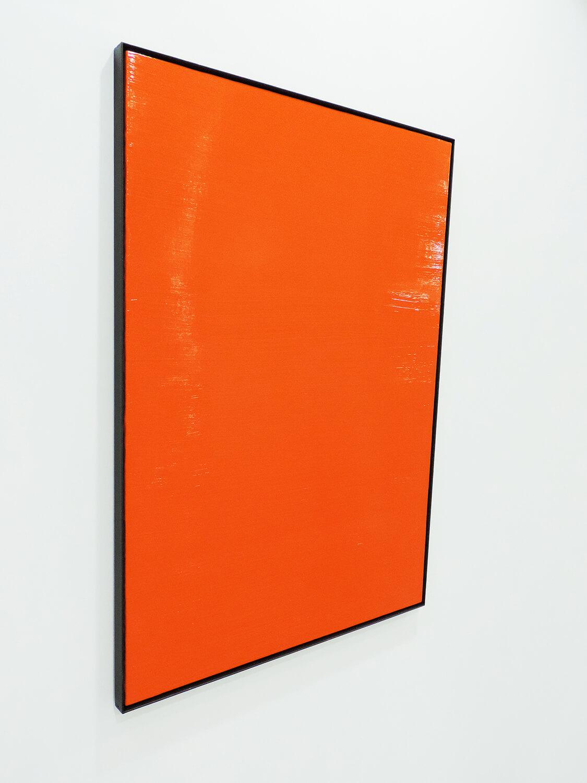 <b>四角形を作り上げている線分</b><br>綿布にアクリル絵の具、鉄製フレーム<br>865 × 643 mm<br>2009