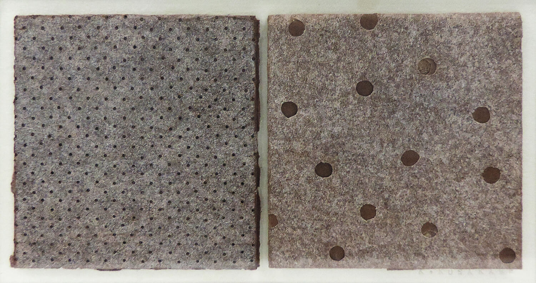<b>折りたたむ</b><br>柿渋型紙、鉄製フレーム<br>70 × 140 mm(イメージ)<br>2007