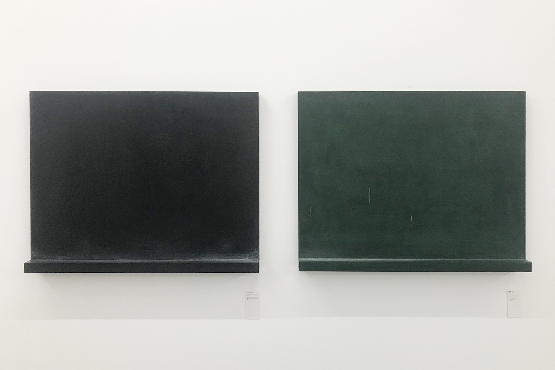 (left) a blackboard|Acrylic, blackboard paint on wood|620 x 800 x 83 mm|2002<br>(right) Pictorial・Z|Acrylic, blackboard paint on wood|620 x 800 x 83 mm|2002