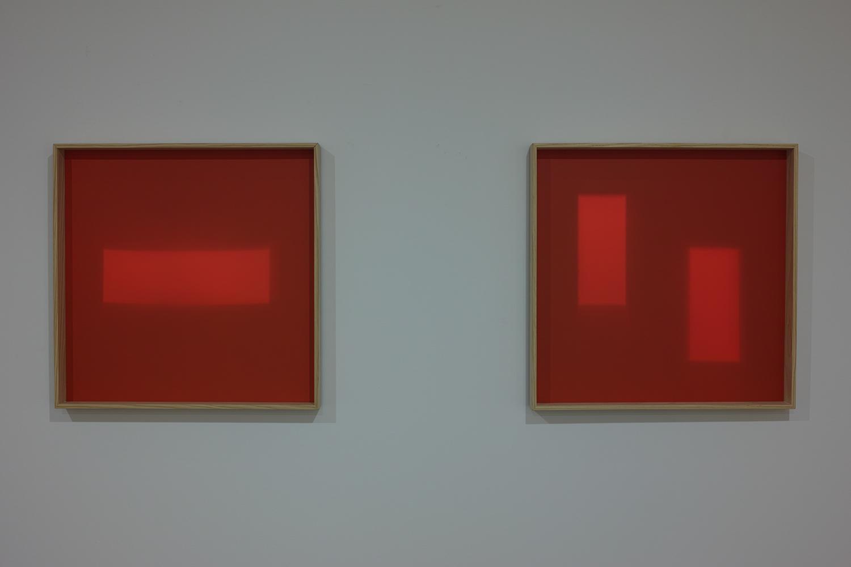 丁 建中 Chien-Chung DING<br>日光之下Ⅲ ed.4/6+AP Beneath Daylight Ⅲ (left)/ 日光之下Ⅳ ed.4/6+AP Beneath Daylight Ⅳ(right)<br>wood frame, acrylic, light / 62×62×6cm / 2016