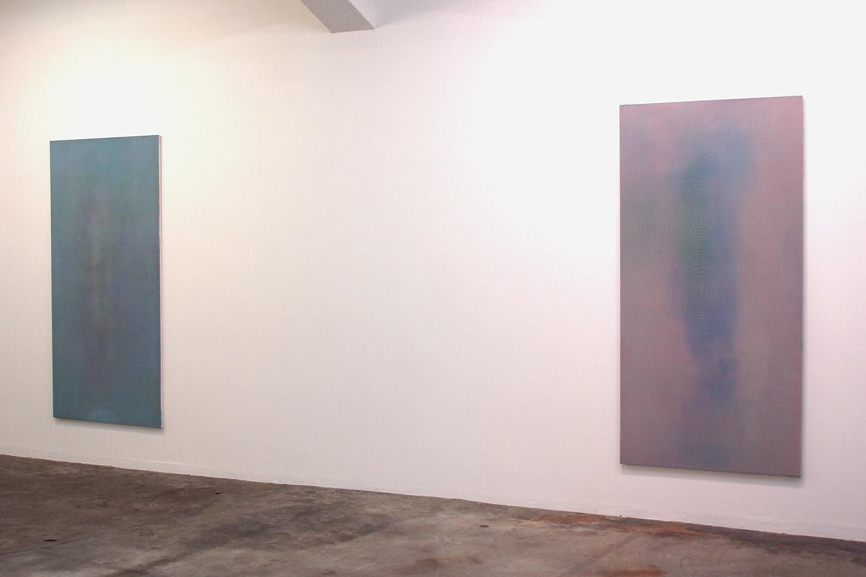 Floating shadow #3|浮影 #3|Panel, acrylic, polyester organza|182 x 910 mm|2007 (left)<br>Floating shadow #4|浮影 #3|Panel, acrylic, polyester organza|182 x 910 mm|2007 (right)