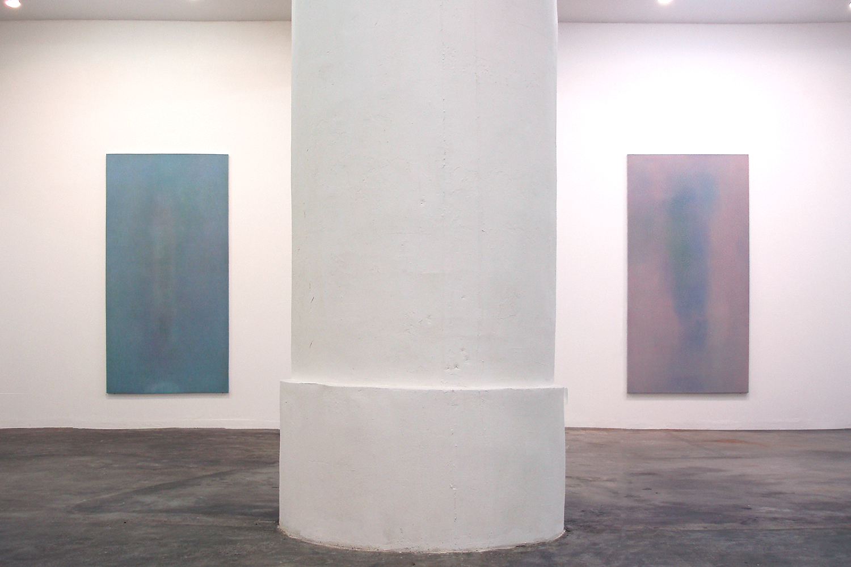 Floating shadow #3|浮影 #3|Panel, acrylic, polyester organza|182 x 910 mm|2007 (left)<br>Floating shadow #4|浮影 #4|Panel, acrylic, polyester organza|182 x 910 mm|2007 (right)