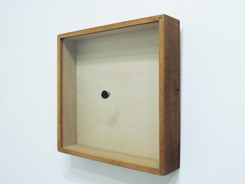 <b>BLACK PAINT -AIR</b><br>Acrylic, stone, glass, wood 45.9 x 47.6 x 9.7 cm 1980