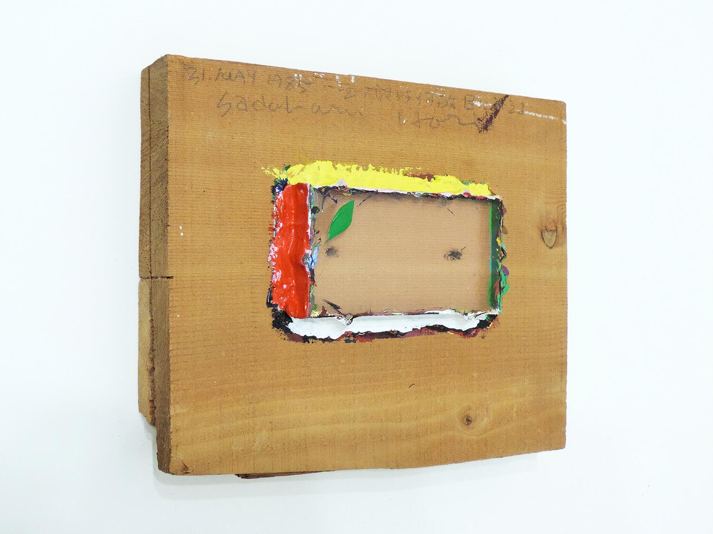 <b>Trusim / あたりまえのこと</b><br>Acrylic on wood, glass 23 x 15 x 5 cm 1985