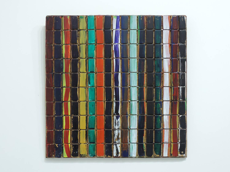 <b>Truism - vertical line / あたりまえのこと たて線</b><br>Acrylic, bamboo 43.2 x 43.2 x 1.9 cm 2008