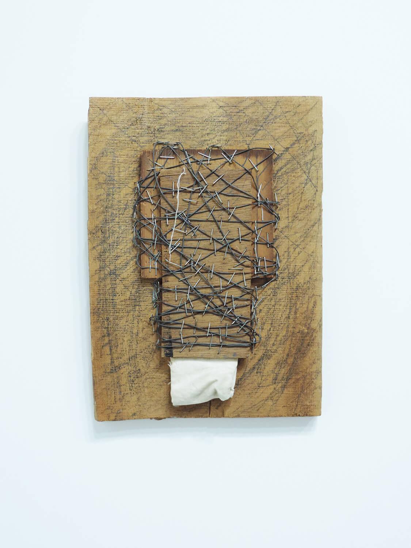 <b>Transform a form / 形をうつす</b><br>Pencil, wire, cloth, wood 27.5 x 20 x 3 cm 1977