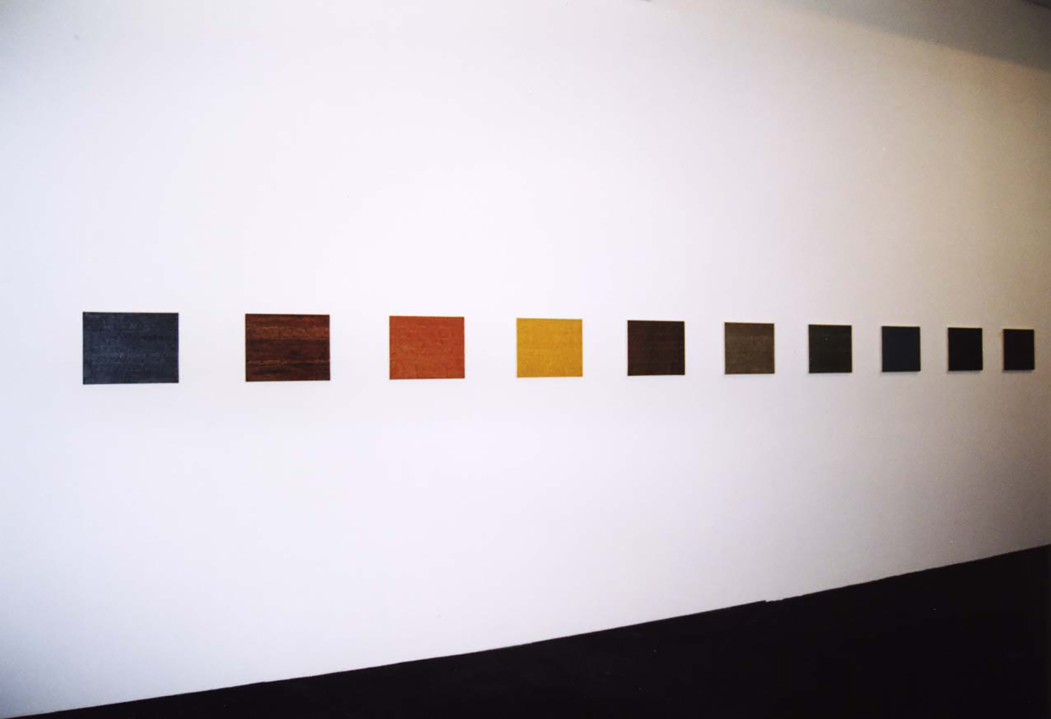 Installation View<br>Untitled - Breath (LK) <br>from left: Charcoal, Umber, Sienna Red, Ochre, Dark Umber, Green Grey Lt., Green Grey Dk., Blue Grey, Blue Green, Green Ochre<br>oil on canvas 40.9 x 31.8 cm 1999 each