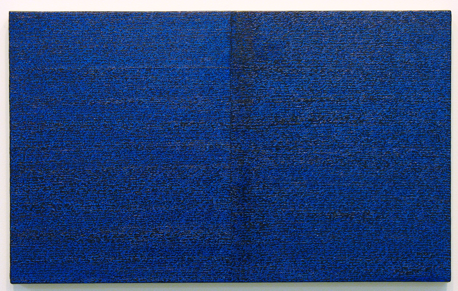 Open Book -blue-blue dark-<br>oil and amber on canvas over panel, 37 x 60 cm, 2008