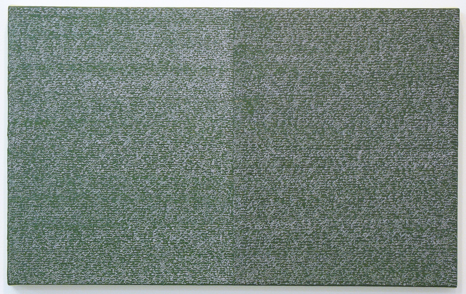 Open Book -pink-green-<br>oil and amber on canvas over panel, 37 x 60 cm, 2008