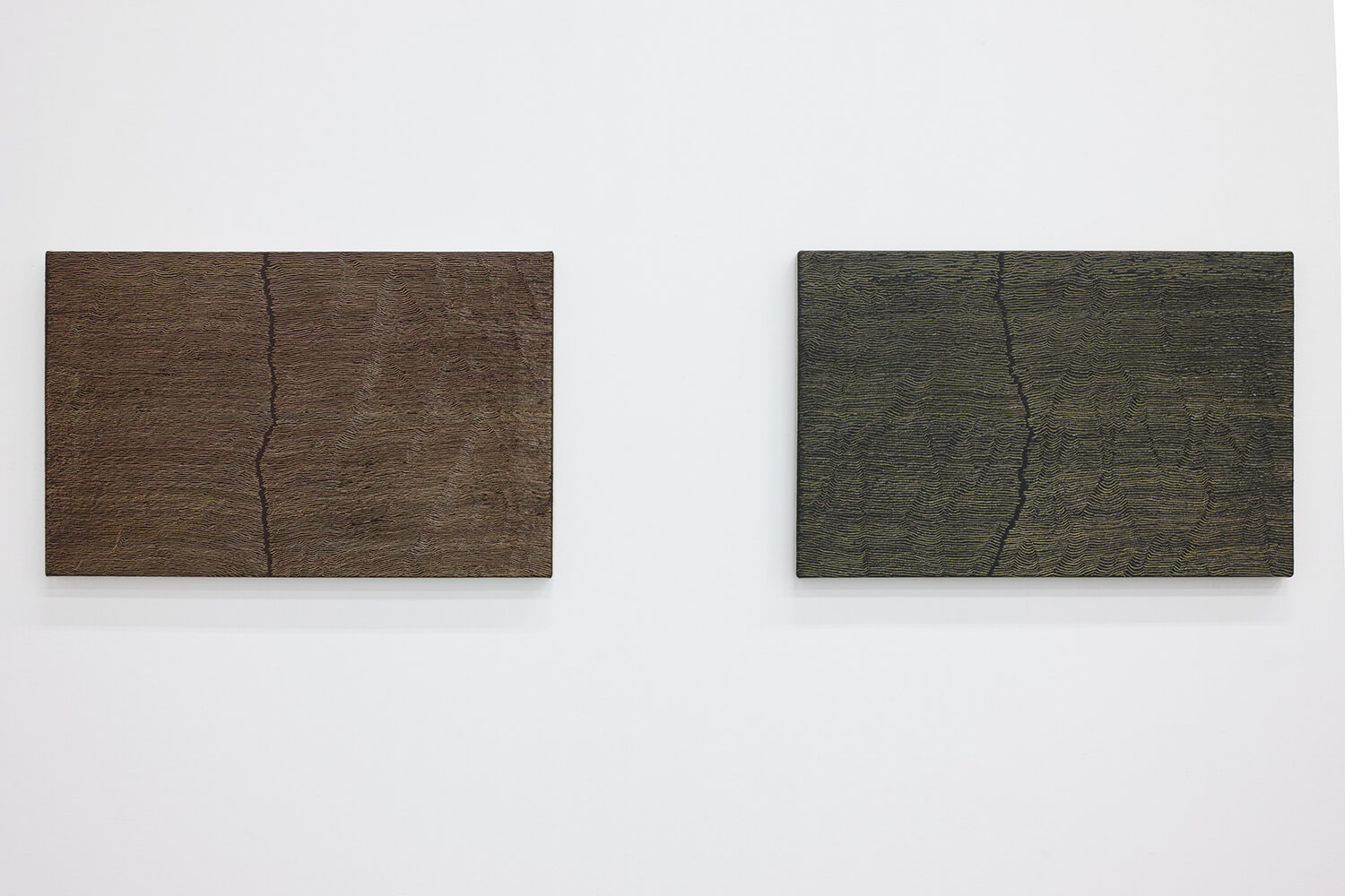 'Fissure 1'  (left) & 'Fissure 12' (right)<br>Oil and Amber on canvas over panel, 33.7 x 53.4 cm, 2001 each