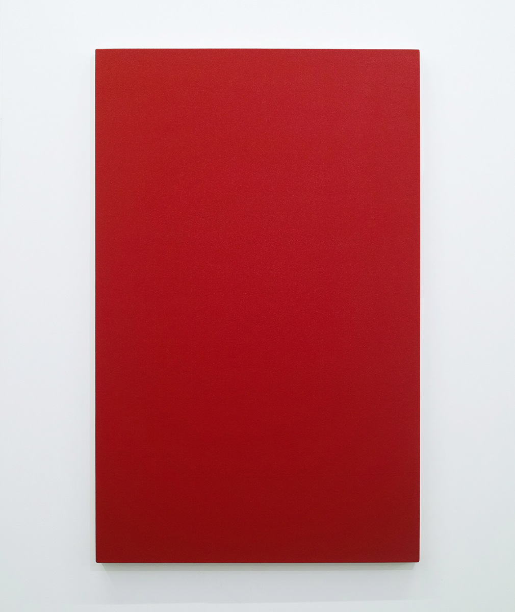 Text No. 582 (untitled red)<br>acrylic, ink on canvas,  1310 x 805 x 45 mm,  2006